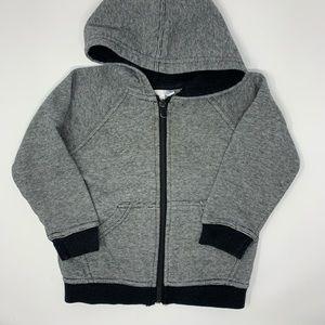 Kids Korner grey hoodie black trim zip front 18m
